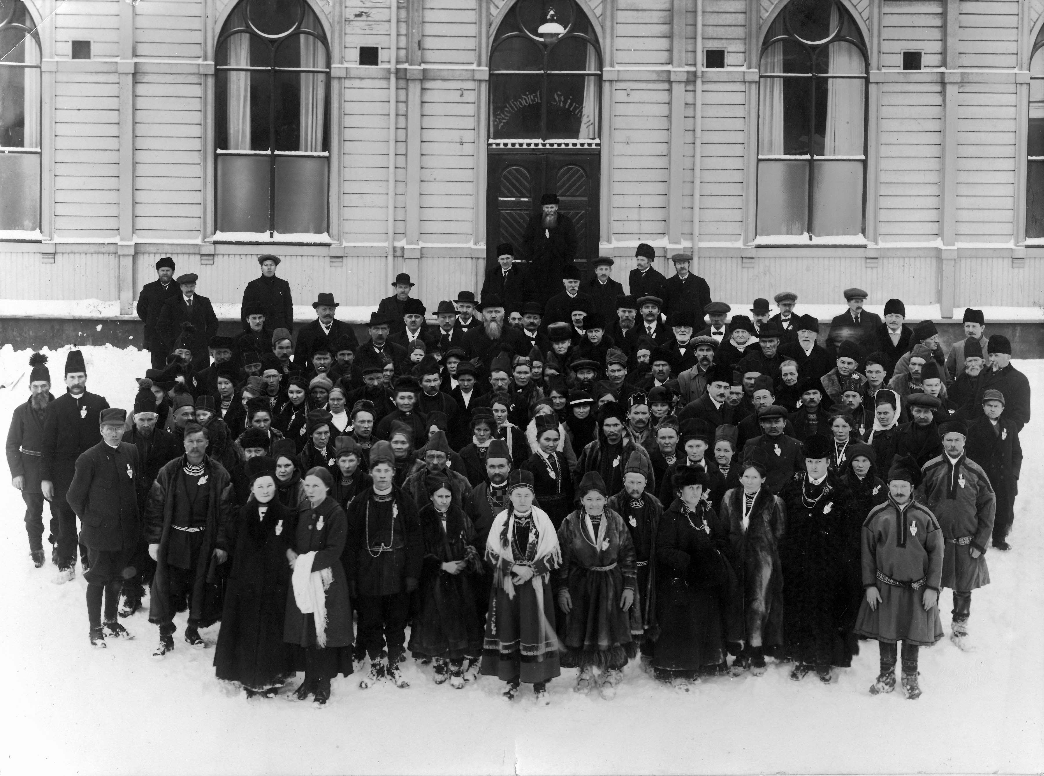 Det första samemötet i Trondheim 1917. Foto: Schrøder/Saemien Sijtes fotoarkiv / Wikimedia Commons.